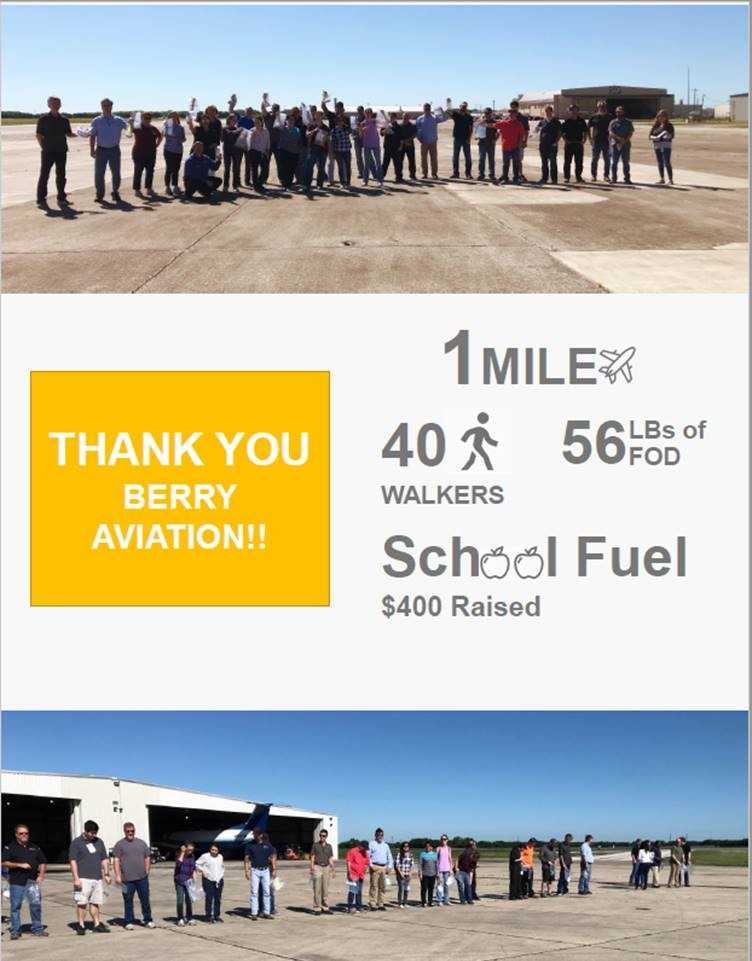 Success statistics from Berry Aviation employees participating in FOD walk