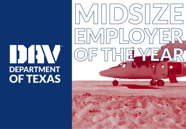 DAV Award announcement with TX flag and aircraft